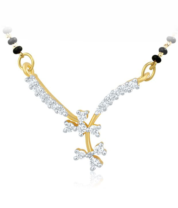 Mahi Gold Plated Mangalsutra Pendant with CZ for Women PS 1191486G