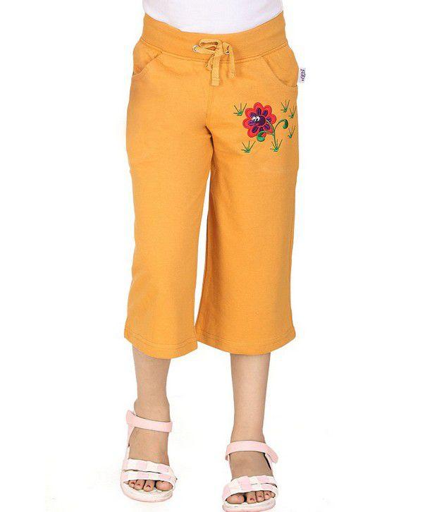 SINIMINI Yellow Capris For Girls