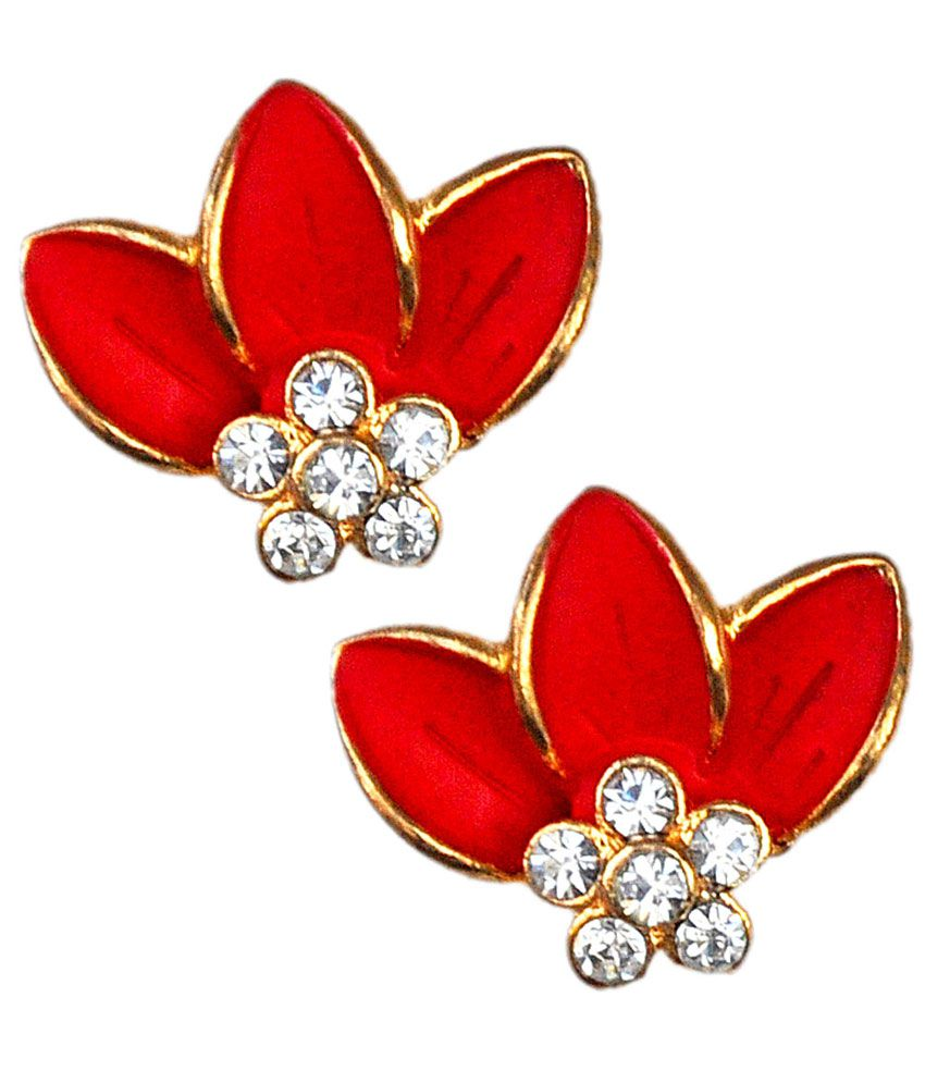 Maayra Lovely Red College Party Modern Stud Earrings