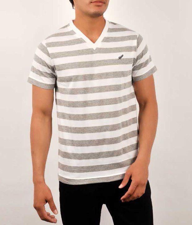 D Green White Cotton  T-Shirt