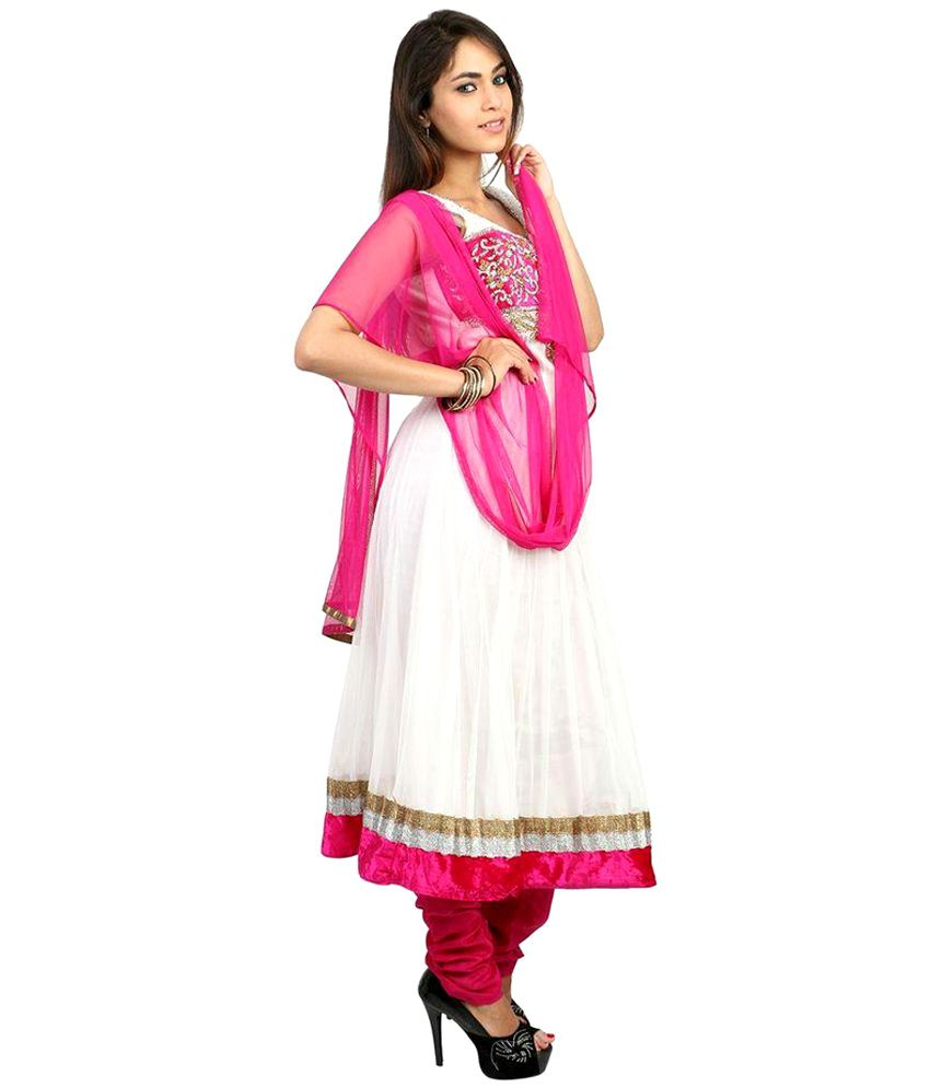 Fashiontra White,Pink Embroidered Net Stitched Anarkali Salwar Suit