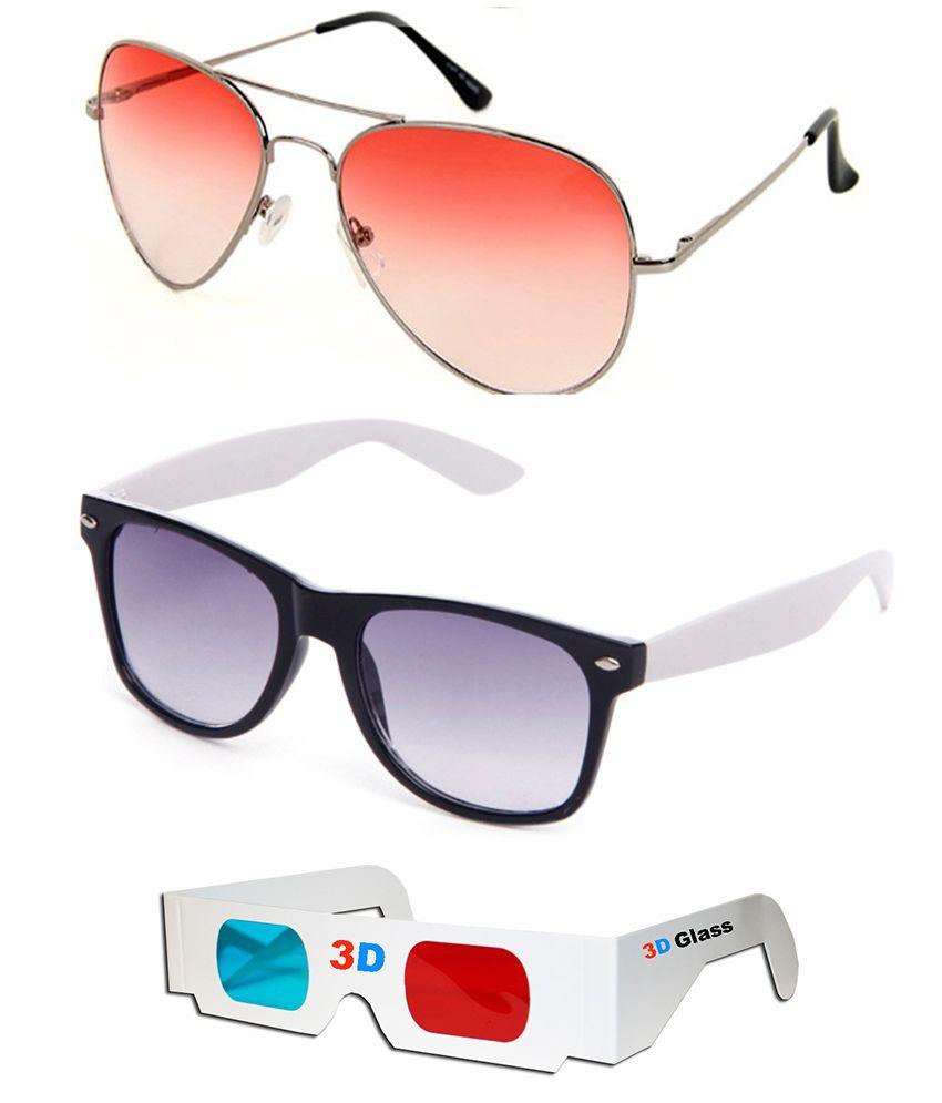 Talesara Combo Of Aviator Sunglasses + Wayfarer Sunglasses + 3d Glasses - Sun4058