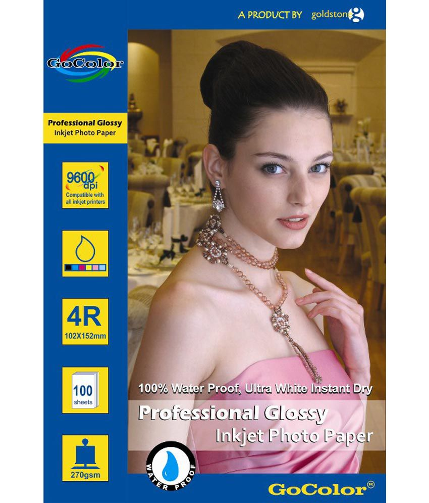 GoColor Professional Glossy Inkjet Photo Paper RC Waterproof 270 GSM 200 Sheet 4R Size