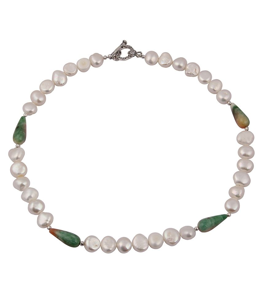 Pearlz Ocean Fiesty Love Dyed Quartzite Gemstone Bead & Fresh Water Pearl 18 Inch Necklace