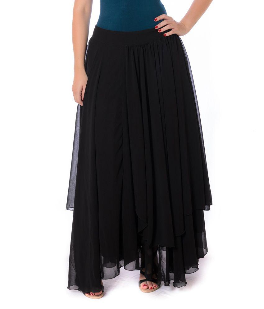 Buy Urban Religion Black Solids Georgette Long Skirt Online at ...