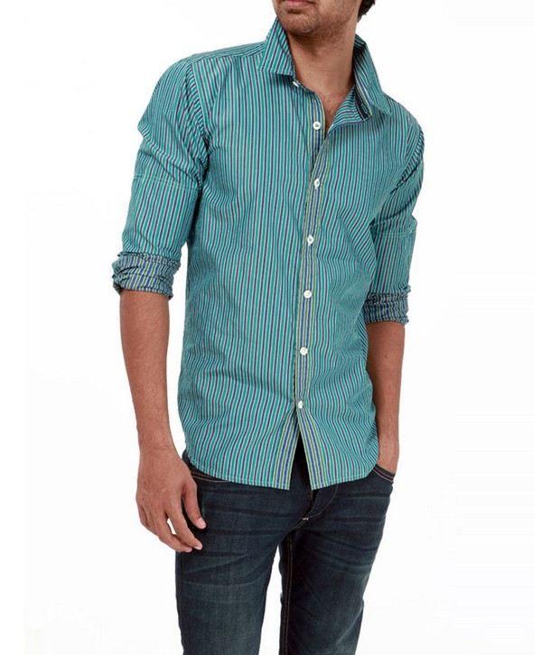 Probase Turquoise Striped Shirt