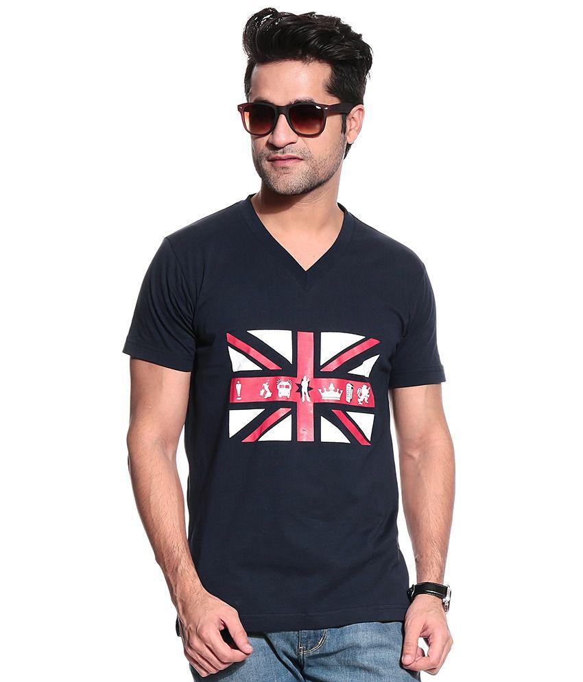 Posh 7 Navy Half Cotton V-Neck  T-Shirt