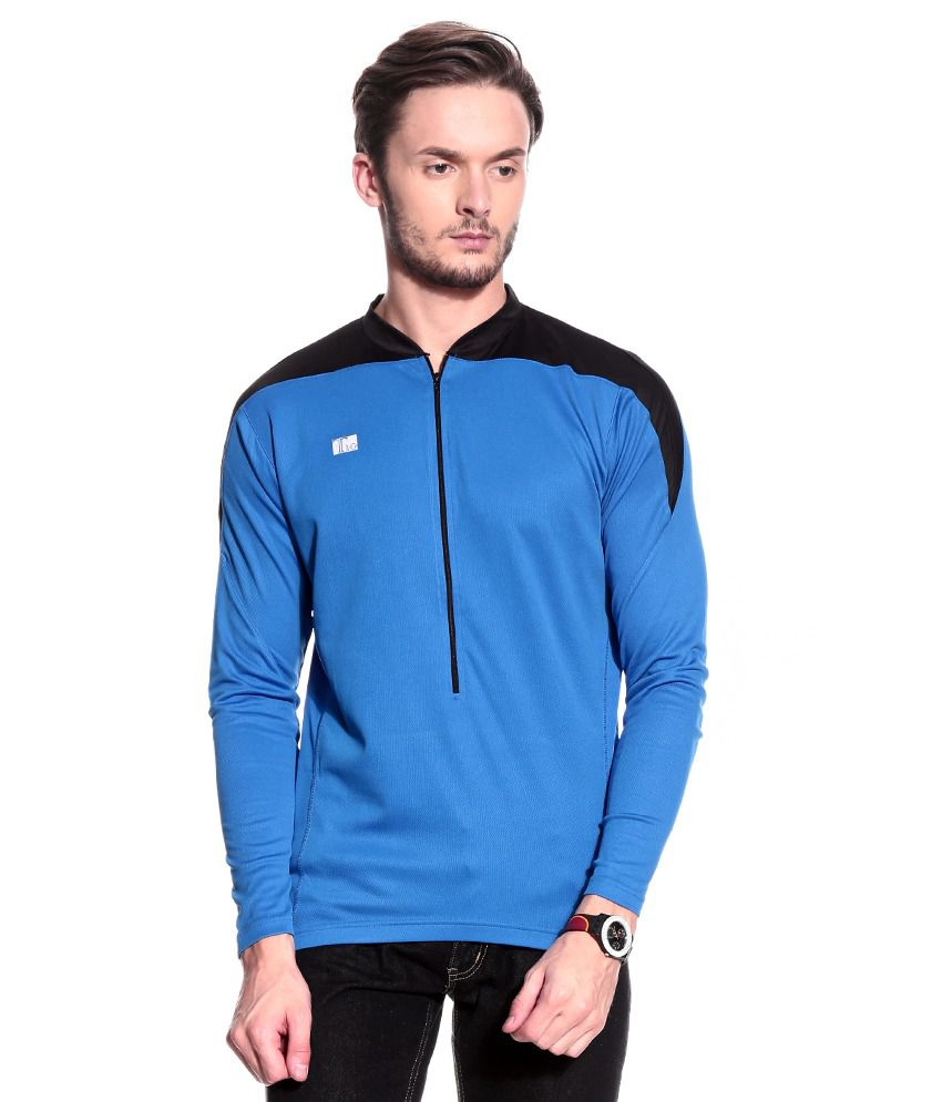 T10 Sports Blue Polyester T-Shirt