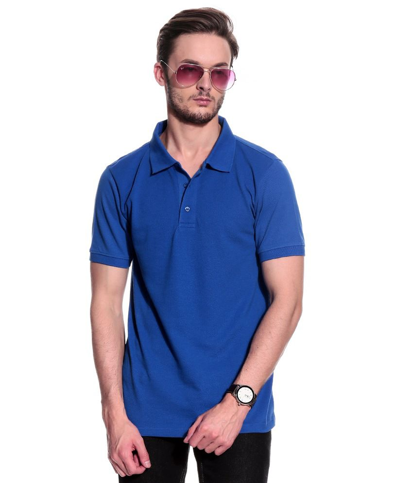 T10 Sports Blue Half  Polo T-Shirt