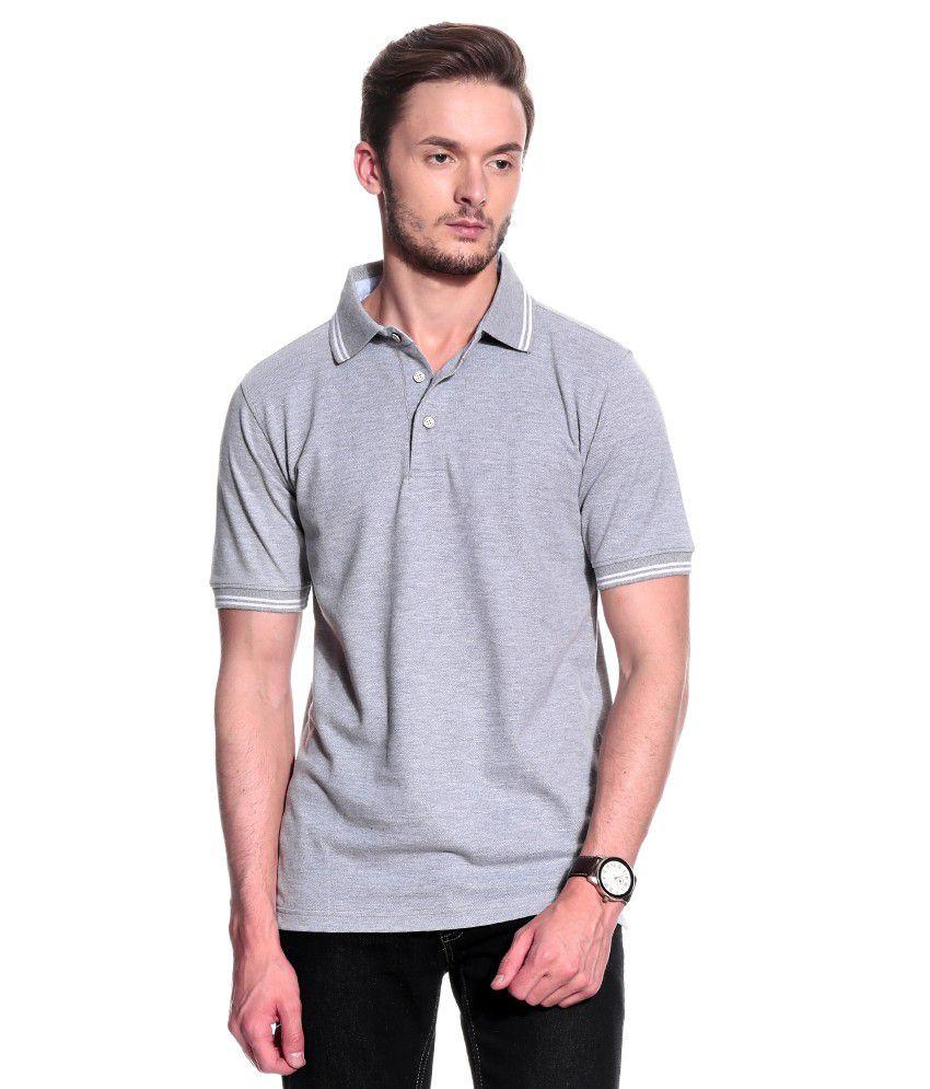 T10 Sports Gray Half  Polo T-Shirt