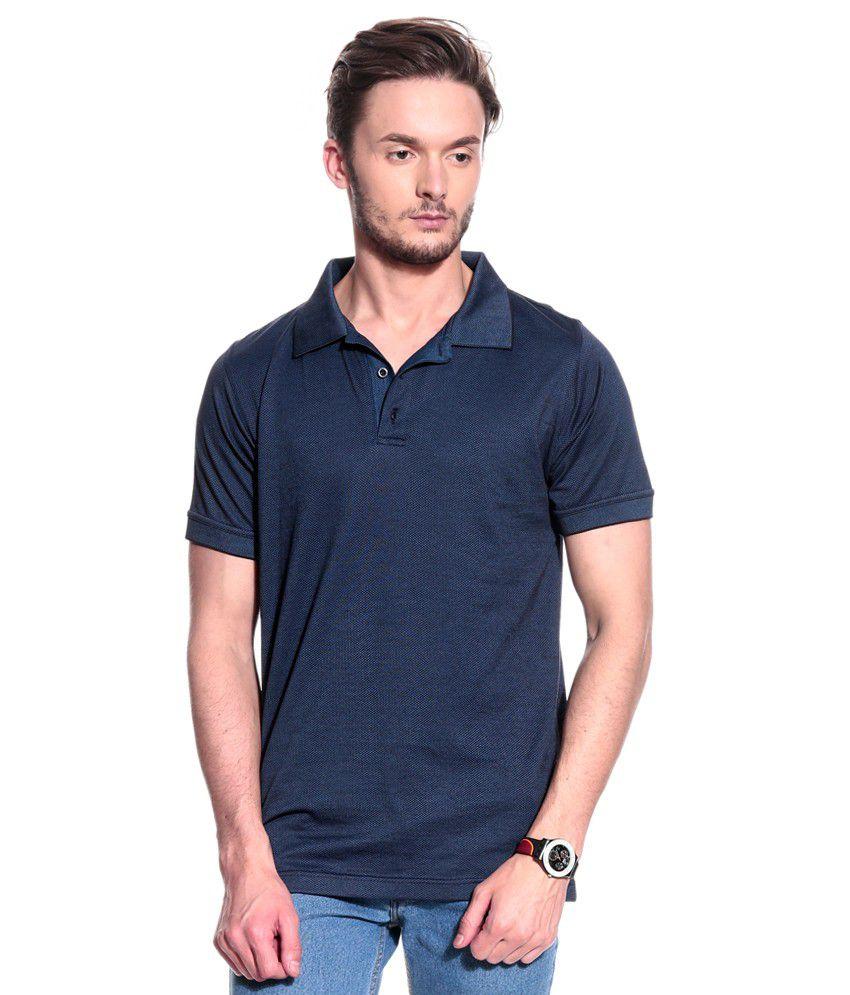 T10 Sports Navy Half  Polo T-Shirt