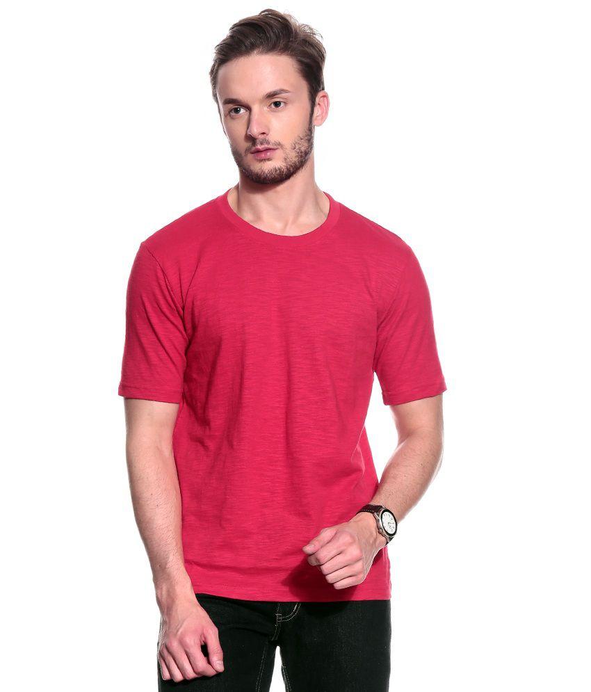 T10 Sports Red Half Cotton Round  T-Shirt