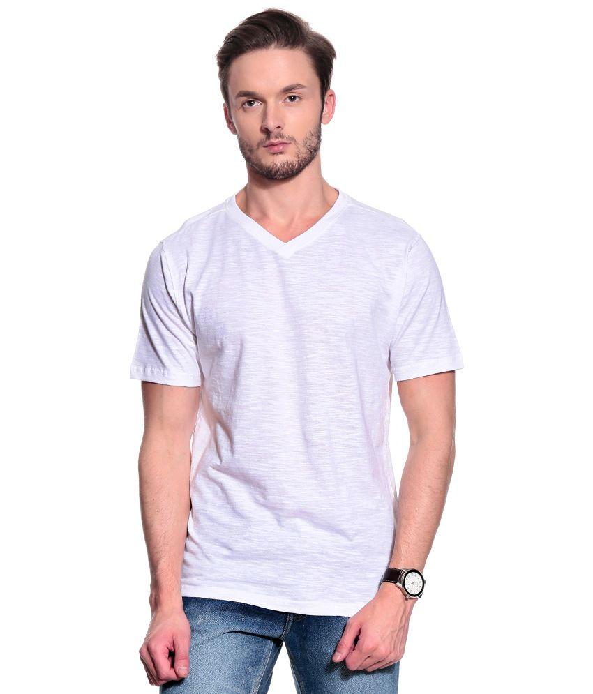 T10 Sports White Half Cotton V-Neck  T-Shirt
