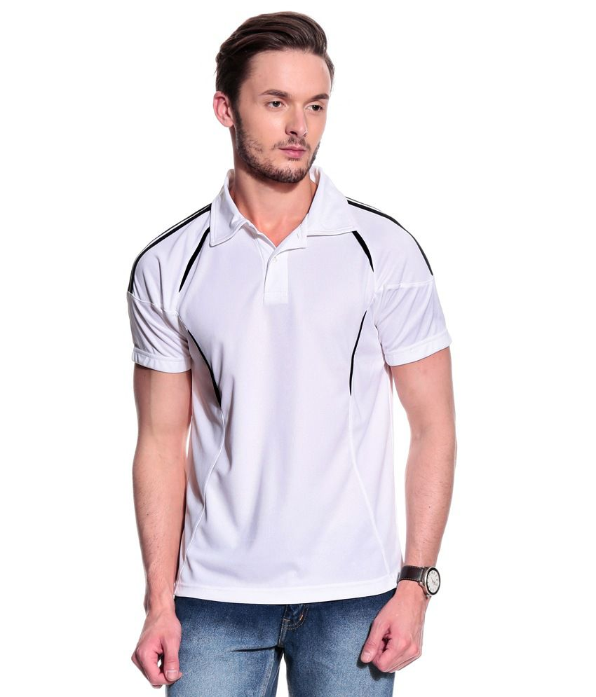 T10 Sports White Polyester Polo T-Shirt