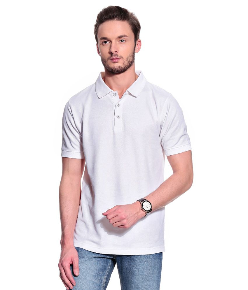 T10 Sports White Cotton Lycra Polo T-Shirt