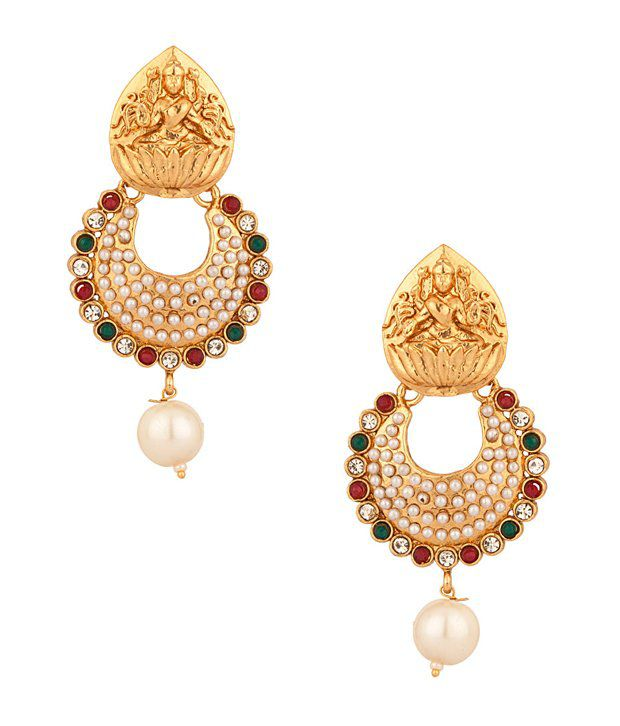 Voylla Gold Plated Earrings With Goddess Lakshmi Temple Design