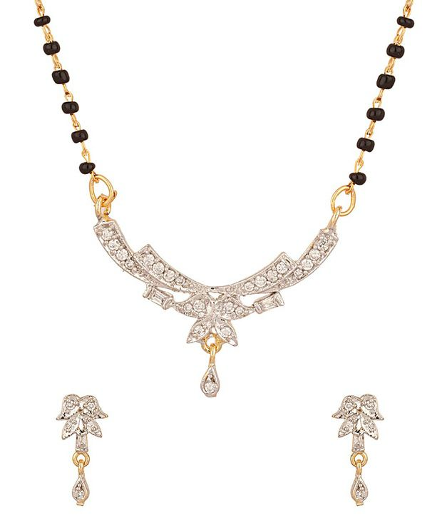 Voylla Single String Gold Plated Petal Mangalsutra Set Studded With Cz Stones