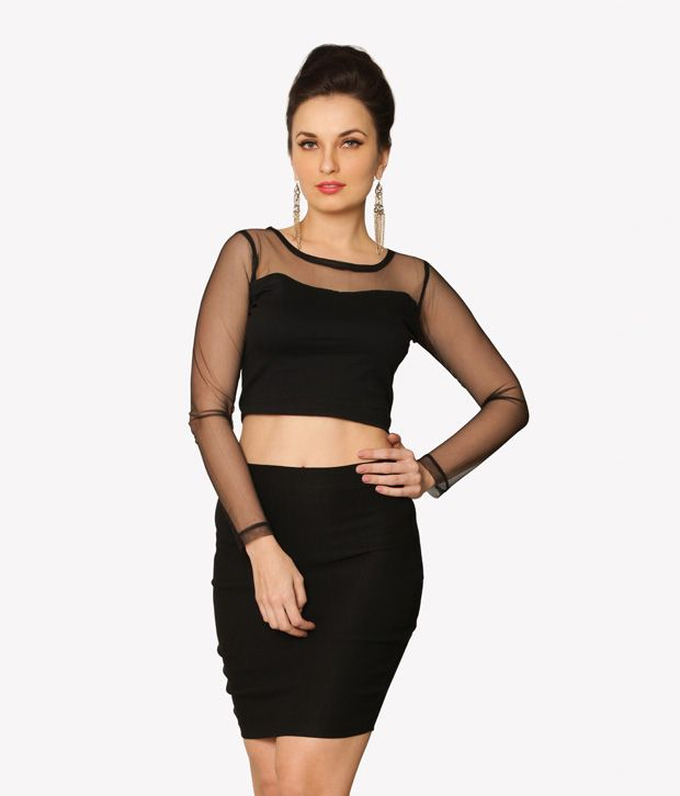 aa417a611b7 Miss Chase Black Cotton Crop Cut-Out Tops For Women Full Sleeve Round Neck  Casual Wear