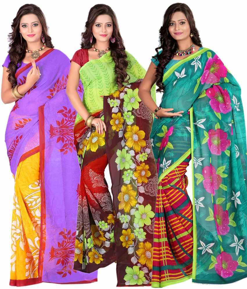 Ansu Fashion'S Smart Multi-Colour Faux Georgette Sarees Pack Of 3