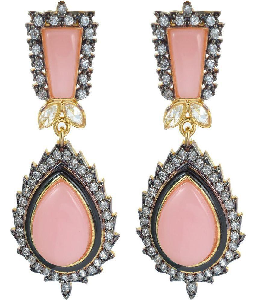The Jewelbox Pink Stone American Diamond Earrings