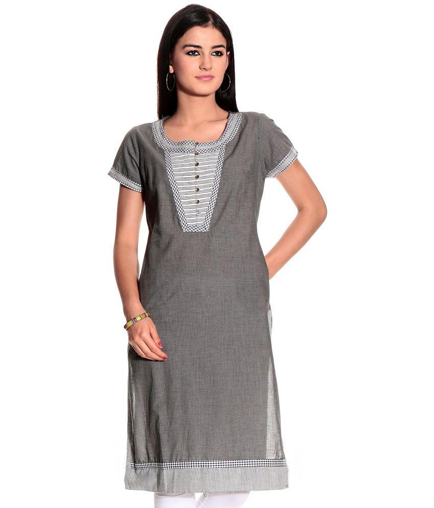 Biba Gray Cotton Kurti