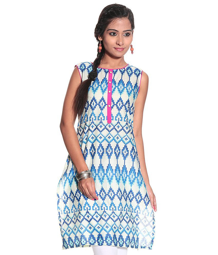 Karigari Blue Printed Long Kurta