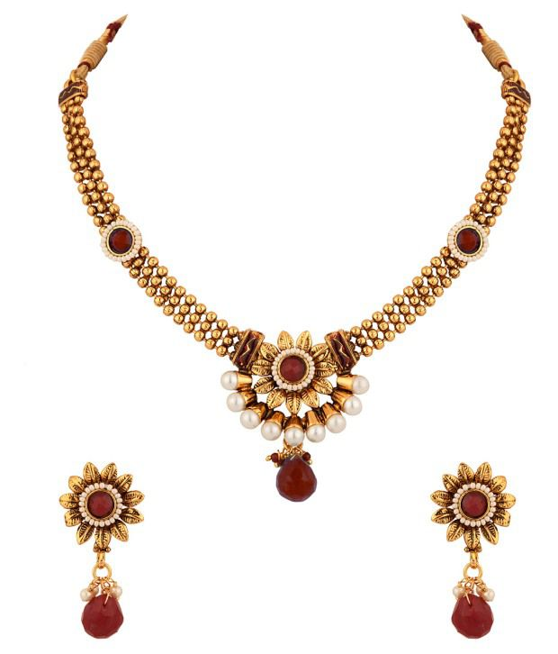 Voylla Pearl And Faux Ruby Stone Embellished Necklace Set