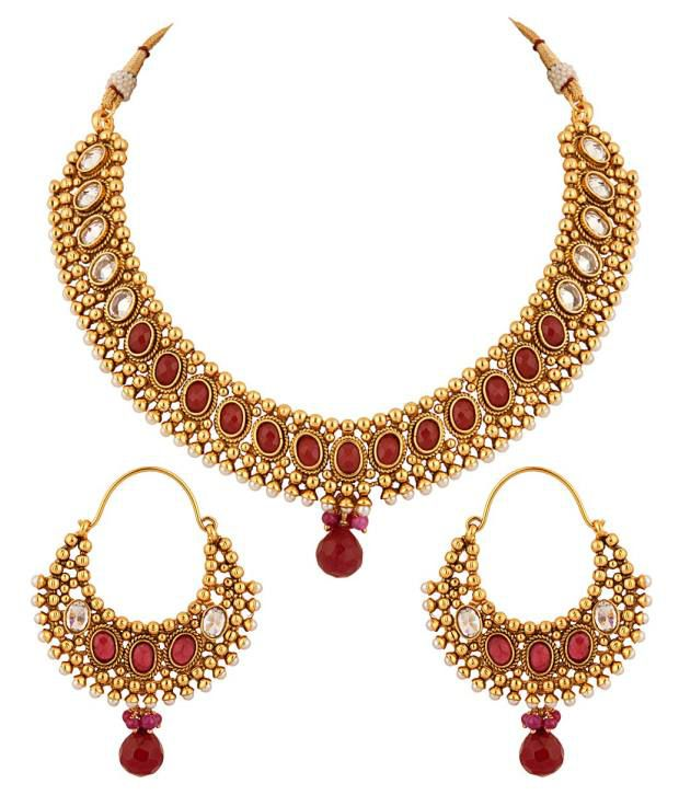 Voylla Pearl and Red Color Hint Over Golden Necklace Set