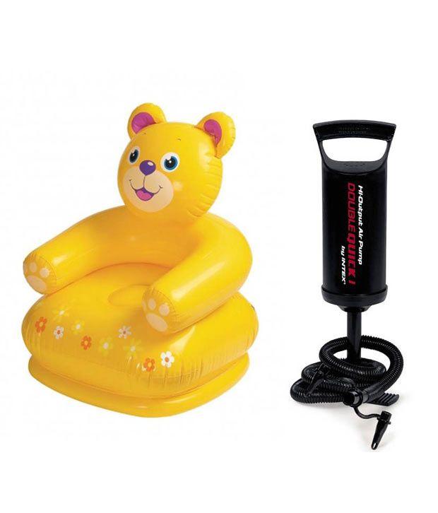 Intex Inflatable Intex Teddy Bear Inflatable Chair For Kids + high Quality Hand Pump