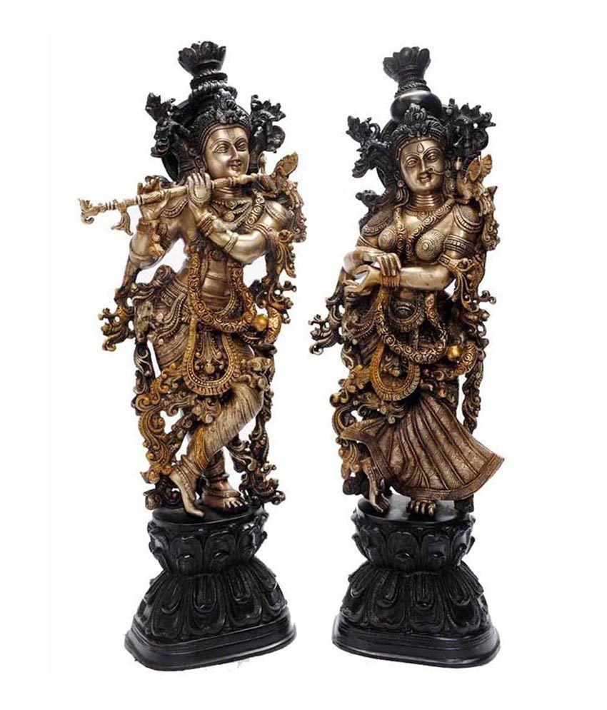 Metal Brass Handmade Handicrafts Lord Radha Krishna