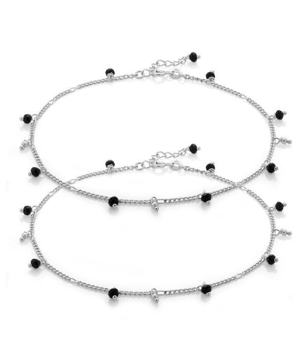 Voylla Black Onyx and 92.5 Silver Anklet