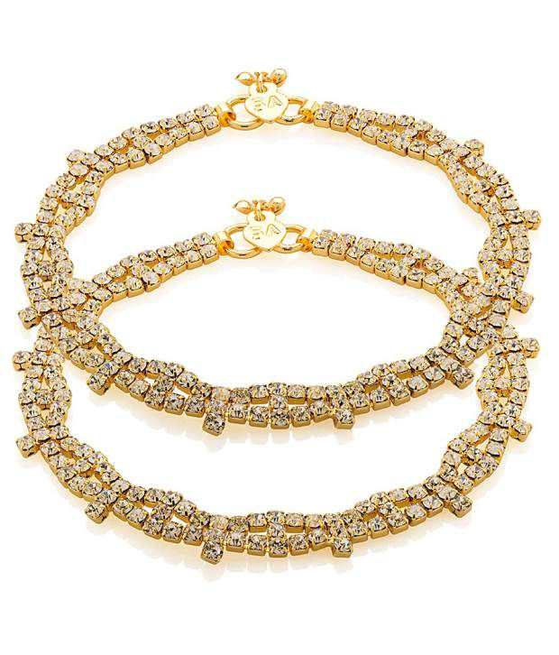 Voylla Link Anklets with Gold Tone Featuring Dazzling Crystallised Design