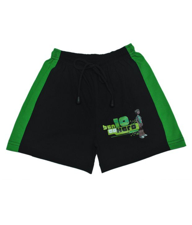 CNBen 10 Printed Black & Green Color Shorts For Kids