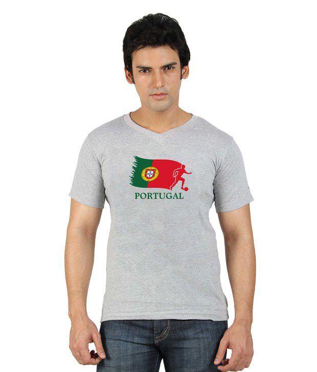 Go Untucked Gray Half Cotton V-Neck  T-Shirt
