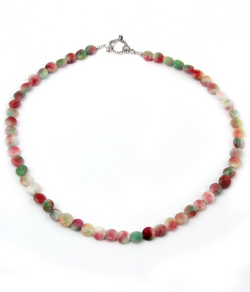 Pearlz Ocean Flashy Style Dyed Quartzite Gemstone Bead 18 Inches Necklace