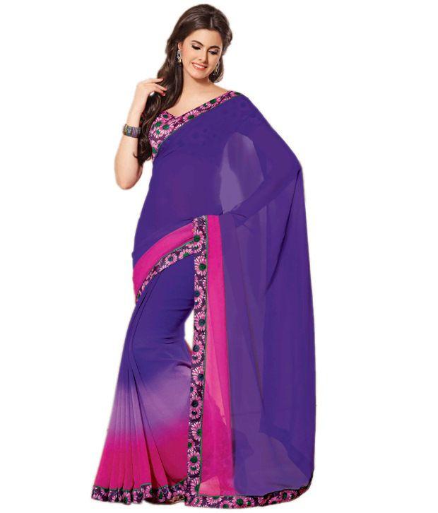 Shri Woman Fashion Blue Printed  saree