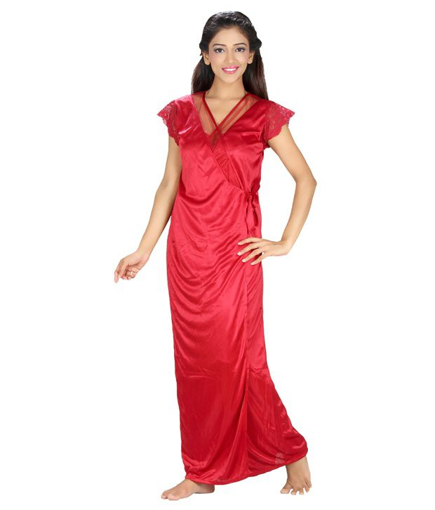 Topshe Red Poly Cotton Nightsuit Sets