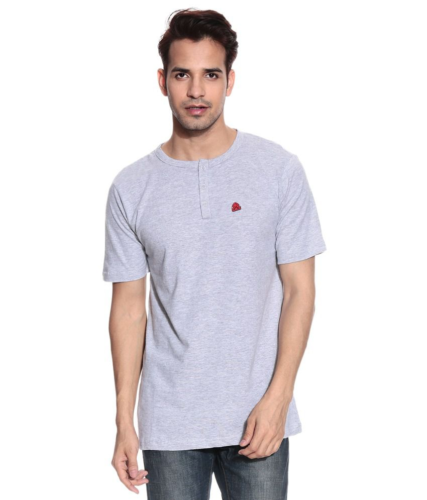 Free Spirit Gray Half Cotton Henley T-Shirt