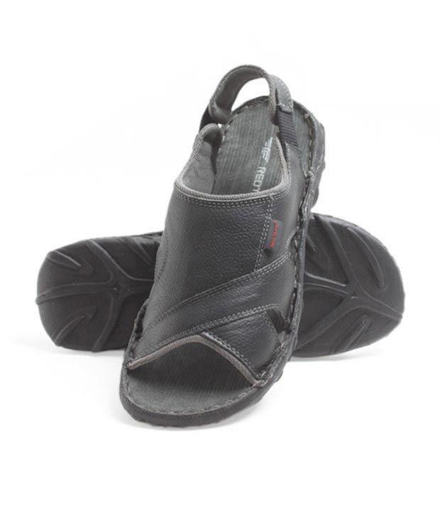 Red Tape Black Leather Sandal