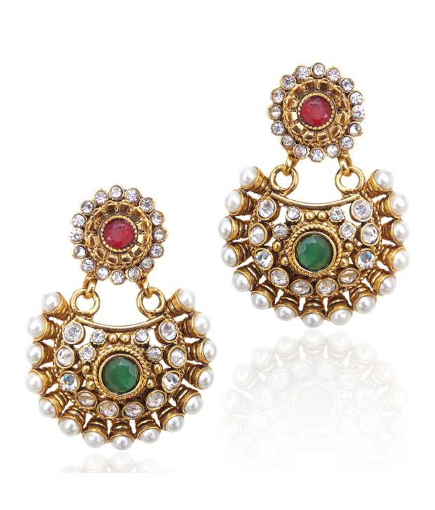 dcd353efe37 Beautiful red green pearl polki earring by adiva - Buy Beautiful red green pearl  polki earring by adiva Online at Best Prices in India on Snapdeal