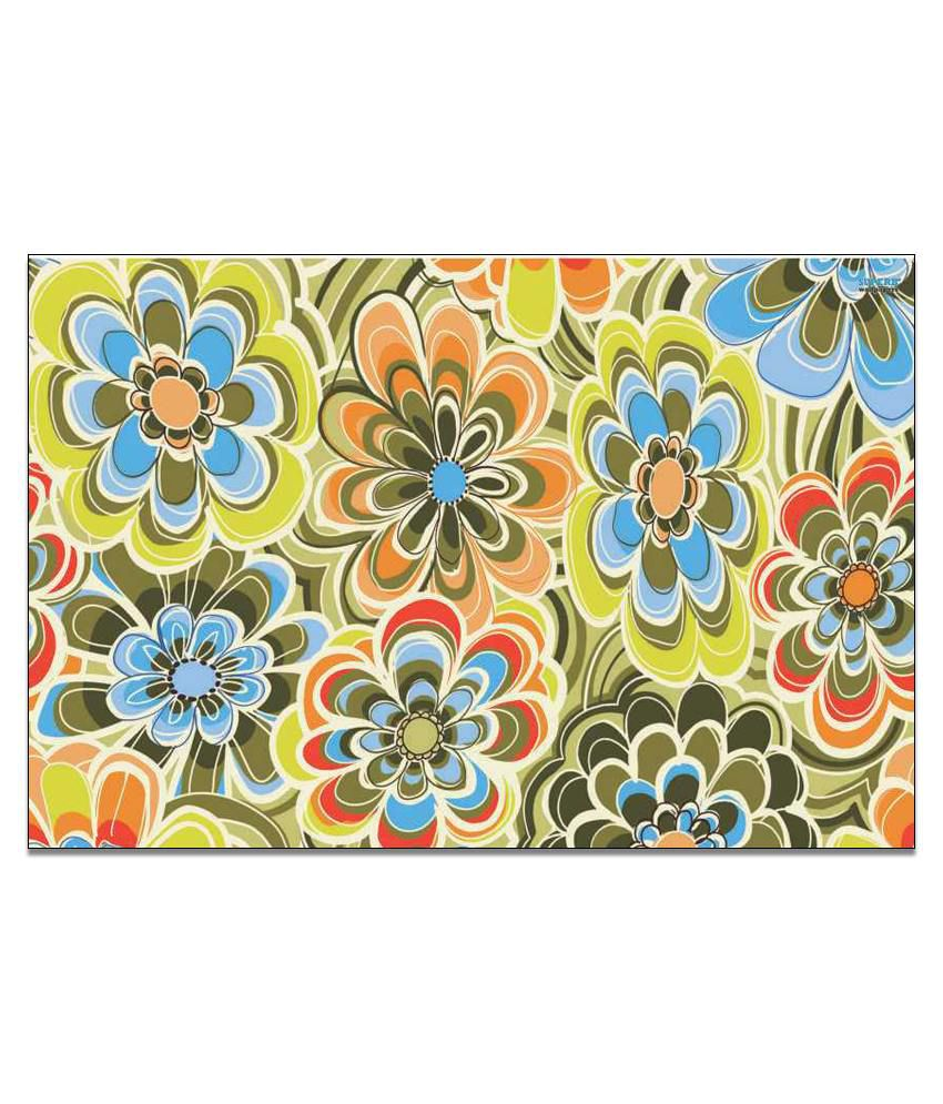 Finearts Yellow-blue Flowers Canvas Wall Painting