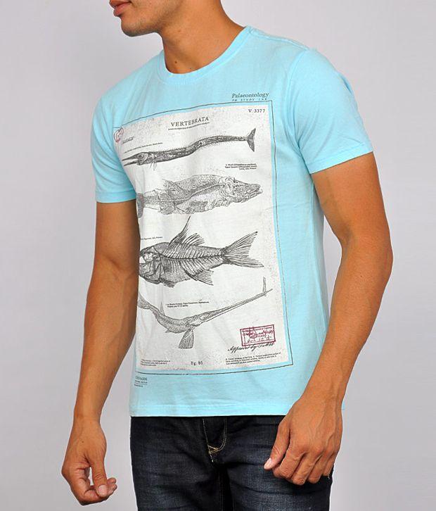 Flying Machine Men T Shirts Short Sleeve Blue Crew Neck