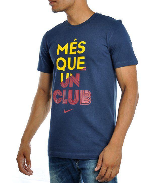 Nike Men T Shirts Short Sleeve Blue Crew Neck