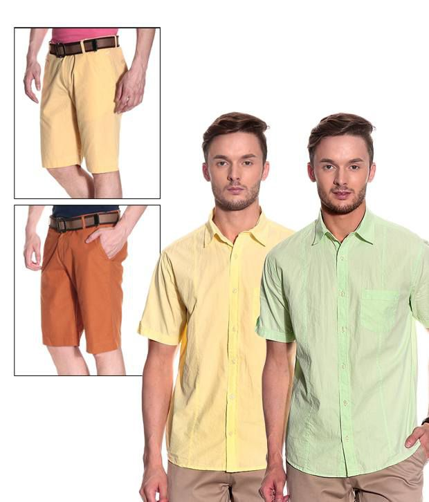 Silver Streak Combo Of Trendy Two Men Shorts And Two Shirts