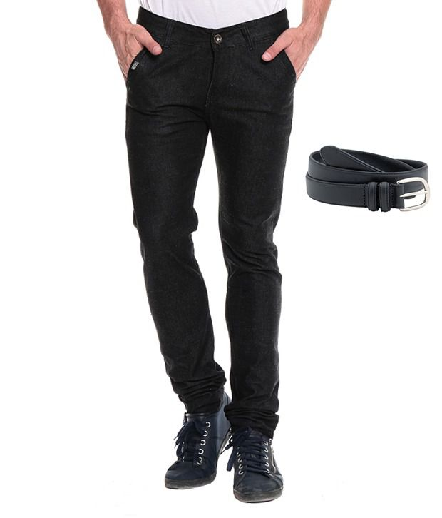 Akaas Black Slim Jeans With Belt