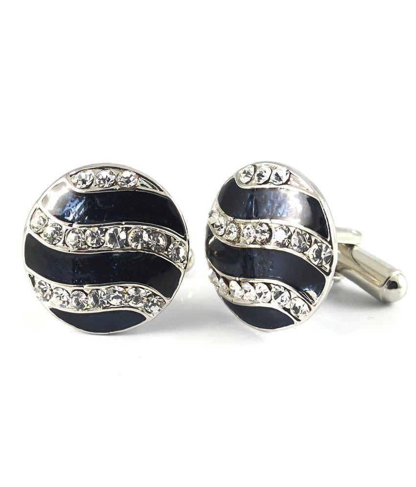 Ammvi Creations Charm Of Chivalry A-diamond Element Rhodium Plated Cufflinks