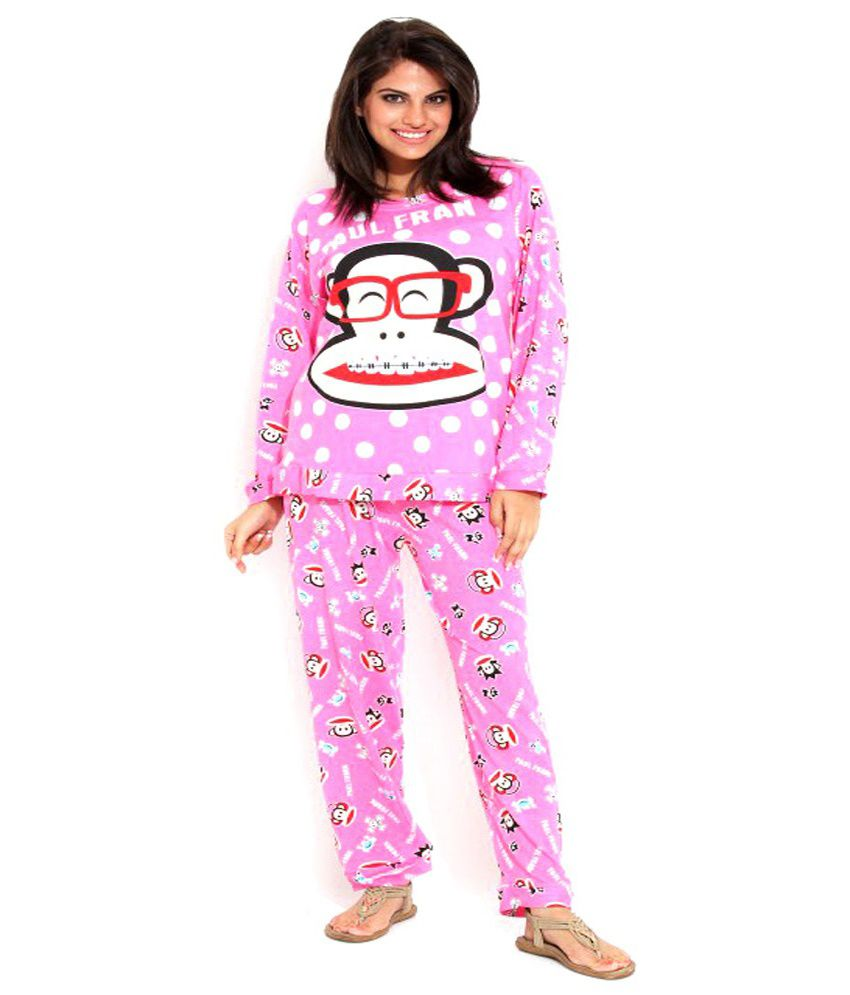 Camey Pink Poly Cotton Nightsuit Sets