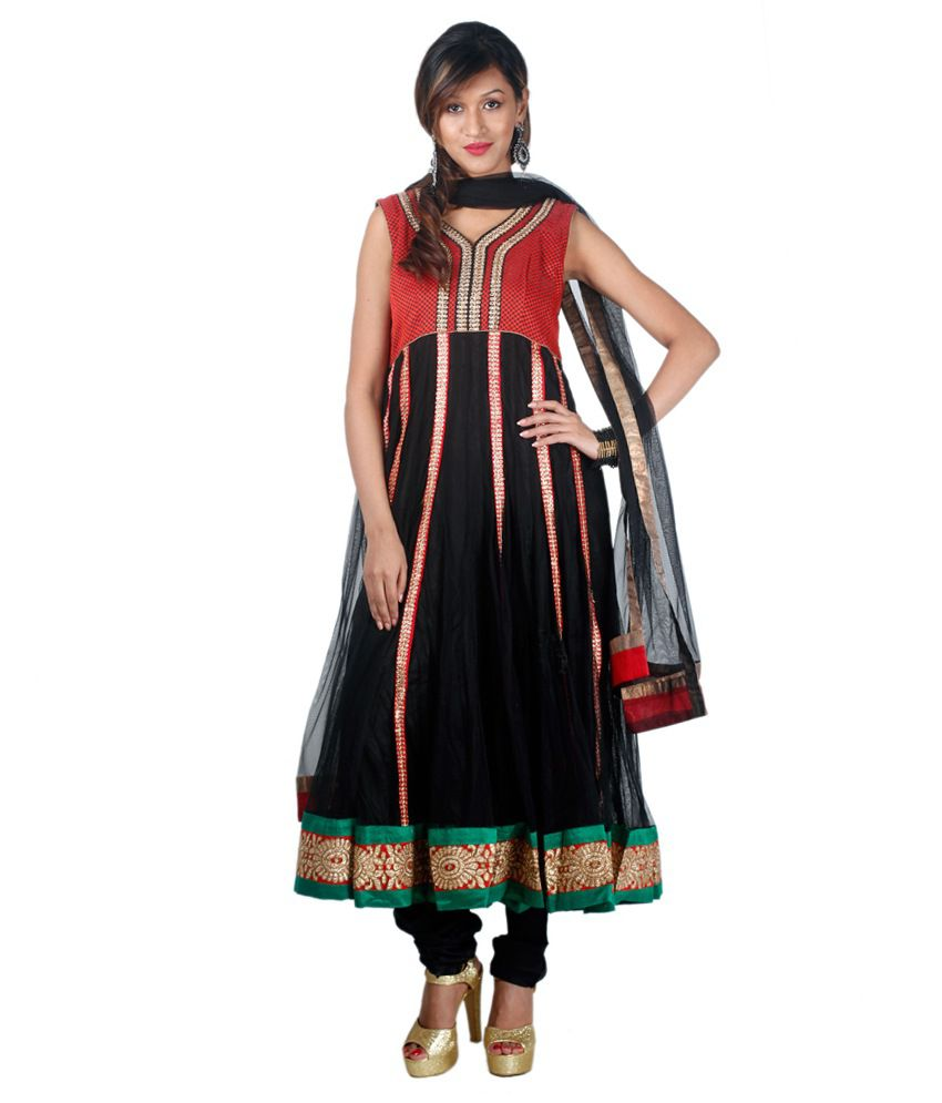 Concepts Black Net Embroidered Stitched Anarkali Suit