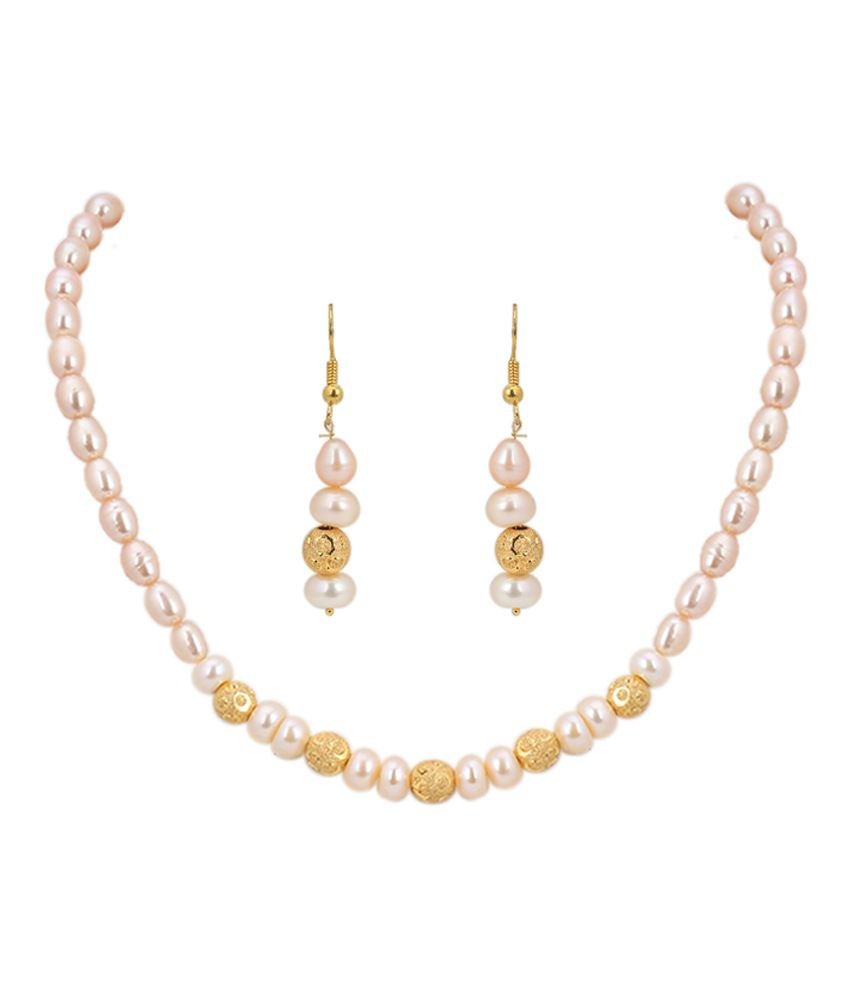 Ddpearls Peach Pearls Necklace Set