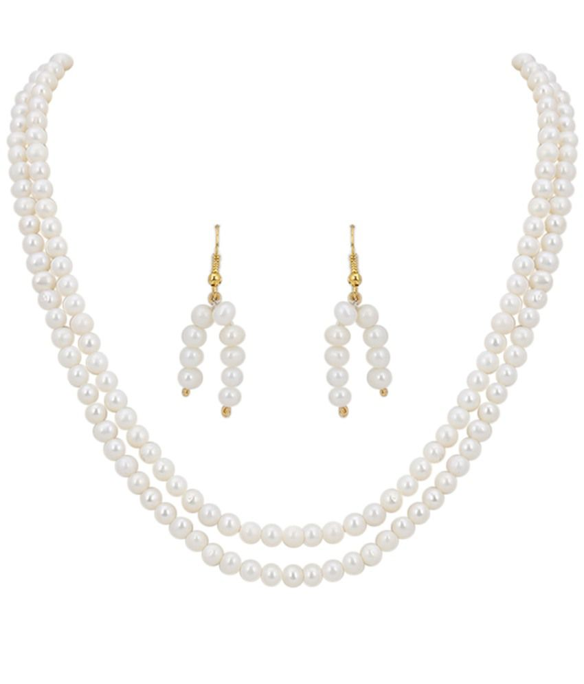 DDPearls 18k White Gold Necklace Set